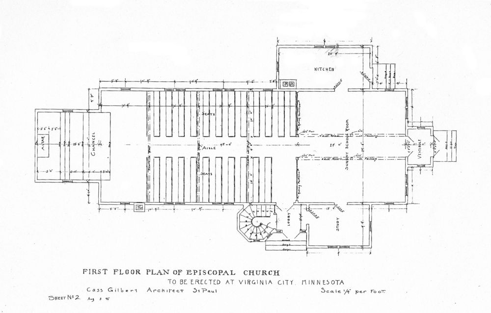 St. Paul's Episcopal Church of Virginia MN, Plan drawing